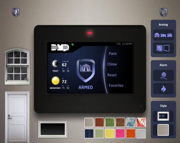 panel de control del sistema de alarmas